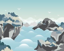High Mountain On The Sky Landscape