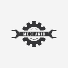 Minimalist Spanner Wrench Gear Logo, Engineering Mechanical Tools Design Vector, Illustration Vintage Of Automotive Garage Concept