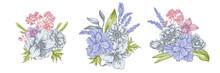 Flower Bouquet Of Pastel Anemone, Lavender, Rosemary Everlasting, Phalaenopsis, Lily, Iris