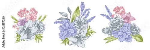 Flower bouquet of pastel anemone, lavender, rosemary everlasting, phalaenopsis, Fotobehang