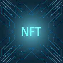 NFT Banner Of Crypto Art With Pcb Tracks. NFT Non Fungible Token On Blue Background. Crypto Art. Vector Illustration