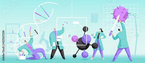 Tablou Canvas Giovani scienziati alla ricerca di nuove cure mediche genetiche