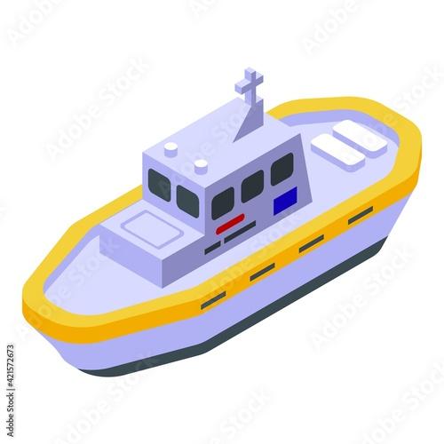 Sea rescue ship icon. Isometric of Sea rescue ship vector icon for web design isolated on white background
