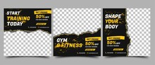 Social Media Post Template Design Set For Gym And Fitness. Black Background With Abstract Yellow Shape. Vector Design With Place For Photo. Suitable For Social Media, Flyers, Banner, And Web Internet.