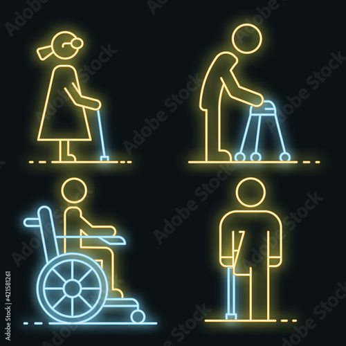 Invalid people icon set Poster Mural XXL