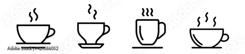 Fotografie, Obraz Set of cofee cup in line style, coffee logo icons