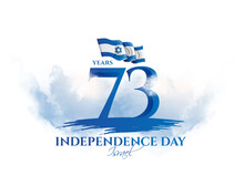 Israel Vector Illustration. Festive Day In Israel On April 19, Happy Independence Day Of Israel . National Flag Graphic Design. Translation From Hebrew: Happy Independence Day Of Israel Vector