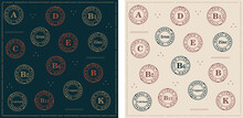 Vitamins In Vintage Style Set Of Sign Stamp Badge