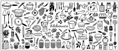 Fototapeta Kitchenware Vector set. Tool and ware collection. Hand drawn, doodle cooking icons. Cookware elements. Template, banner for design, menu, restaurant, cafe, bakery, wallpaper, recipe card, cookbook.  obraz