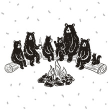 A Family Of Bears By The Fire.