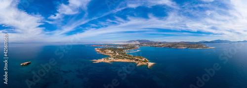 Greece Athens riviera coast, Vouliagmeni bay, birds eye view Fototapeta