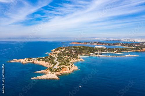Fotografiet Greece Athens riviera coast, Vouliagmeni bay, birds eye view