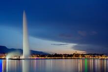 Famous Fountain And Leman Lake By Night, Geneva, Switzerland, Hdr