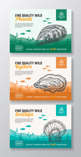 Fine Quality Organic Seafood. Abstract Vector Food Packaging Labels Set. Modern Typography And Hand Drawn Scallop, Mussel And Oyster Silhouettes. Sea Bottom Landscape Background Layout With Banner