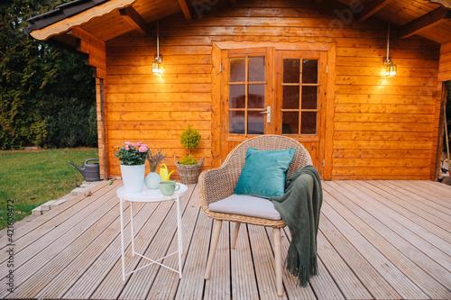 Wooden hut in spring Fototapeta
