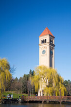 WA, Spokane, Riverfront Park, The Clock Tower By The Spokane River