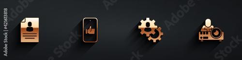 Fototapeta Set Resume, Hand like, Head hunting and Media projector icon with long shadow. Vector obraz