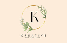 K Letter Logo Design With Golden Circles And Green Leaves On Branches Around. Vector Illustration With K Letter.
