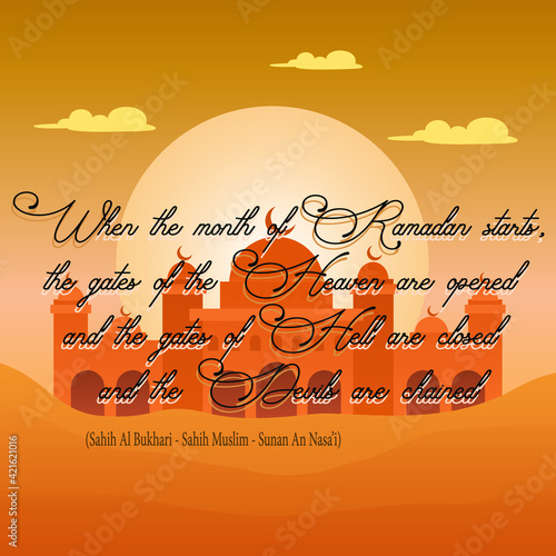 Background hadith ramadhan desert theme vector design illustration Wall mural