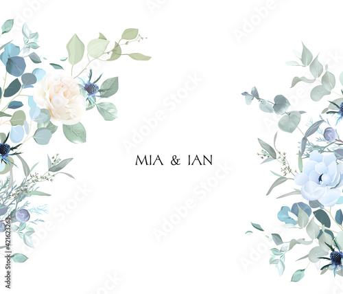 Photo Creamy beige rose, anemone, dusty blue thistles, eucalyptus, greenery, juniper,