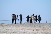 Birders And Photographers In Provincial Park Looking For Interesting Birds And Subjects Taught By A Master Birder.