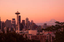 Seattle, Washington State. Skyline At Night From Queen Anne's Hill With Space Needle.