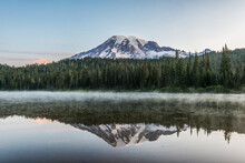 Washington State, Mt. Rainier National Park, Mt. Rainier Reflected In Reflection Lake At Dawn