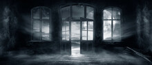Dark Scary Fantasy Room With Windows And Doors. Big Moon, Night Sky View, Rays Of Moonlight. Old Concrete Walls And Old Windows. Reflection Of Light On The Floor, Neon Light. 3D Illustration.