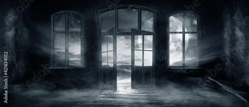 Fotografie, Obraz Dark scary fantasy room with windows and doors