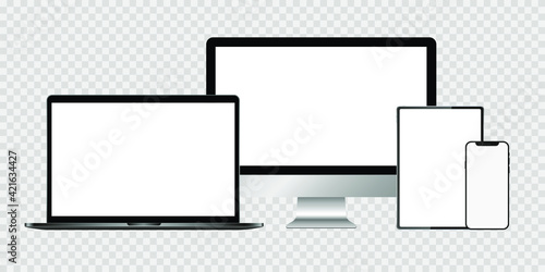 Fototapeta Realistic set of monitor, laptop, tablet, smartphone. Stock Vector illustration. obraz