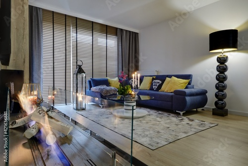 Fototapeta Interior of a luxury living room with gas fireplace obraz
