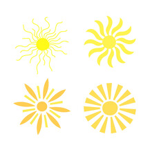 Simple Yellow Sun Set Vector Illustration, Cute Summer Image For Making Cards, Decor, Summer And Holiday Design For Children