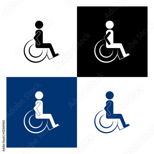 Tableau sur Toile Set disabled person simple vector icons. Toilet pictogram.