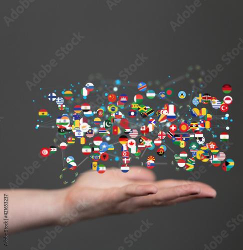 Fototapeta international counties flags - 3D realistic. obraz