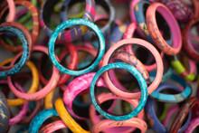 Closeup Of Colorful Bangles Sold As Souvenir