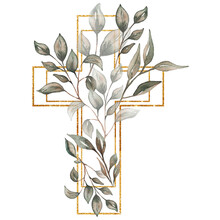 Watercolor Hand Painted  Floral Cross Clipart, Easter Religious Greenery Illustration,  Baptism Cross Clip Art,  Holy Spirit Clipart, Golden Frame