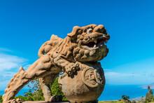 Traditional Chinese Foo Dog Dragon Sculptures Gaurding The Gateway Into Sun Yat Sen Memorial Park, Kula, Maui, Hawaii, USA