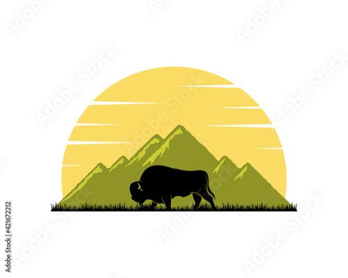 Obraz na plátně Green mountain and bison inside