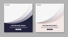 Creative Geometric Travel Social Media Post Template Promotion Banner. Web Banner Advertising Design Vector