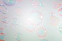 Beautiful Transparent Colorful Soap Bubbles Background.