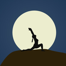 Silhouette Of Woman Practicing Yoga Doing Virabhadrasana Pose On A Mountain Under Moonlight On Dark Blue Sky