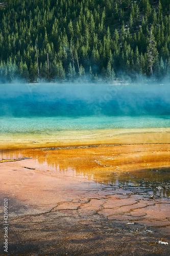 Obraz Vertical shot of the Grand Prismatic Spring, Yellowstone National Park, Wyoming USA - fototapety do salonu
