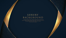 Abstract Curve Overlapping On Dark Blue Background With Glitter And Golden Lines Glowing Dots Golden Combinations. Luxury And Elegant Design. Vector Illustration