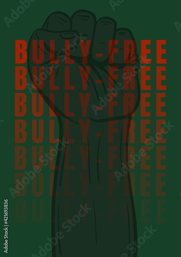 Fototapeta Digitally generated image of bully free text against hand fist on green background obraz