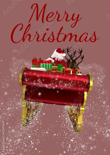 Digitally generated image of merry christmas text against santa claus on sleigh on pink background