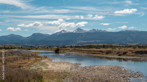 Fototapety, obrazy: Beautiful view of a landscape with Cerro Mackay mountain and Rio Simpson river near Patagonia, Chile