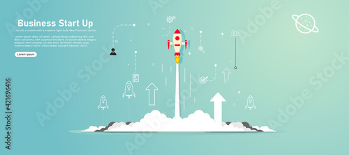 Fototapeta Rocket launched on cloud and blue sky filled with stars, universe with paper art, craft model. Business startup project concept, vector illustration on black background obraz