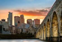 Stone Arch Bridge In Minneapolis At Sunset
