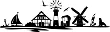 Lighthouse Windmill Landscape Silhouette Vector