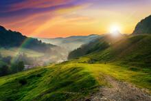 Hillside Near The Village In Morning Mist